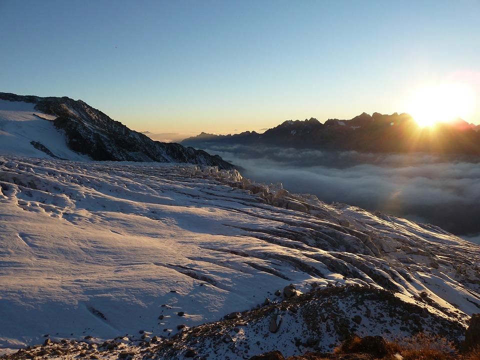 Landscape, Mountain, Glacier, Lying Sun, Sky, Snow