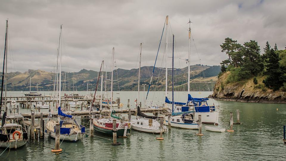 New Zealand, Port, Navigation, Landscape, Mountain