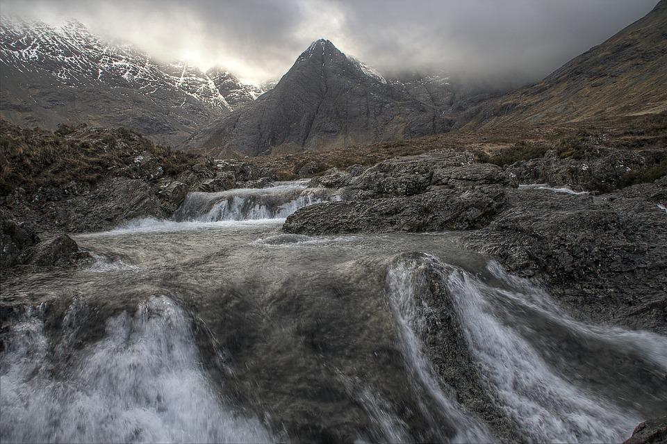 Mountain, Stream, Waterfall, Nature, Landscape, Water