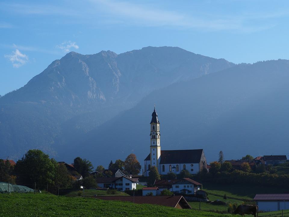 Mountains, Church, Landscape, Pfronten