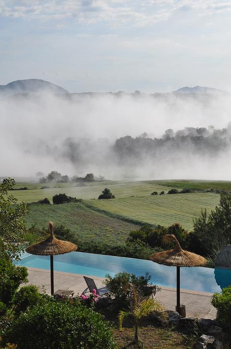 Clouds, Mountains, Nature, Pool, Landscape, Fog, Sky