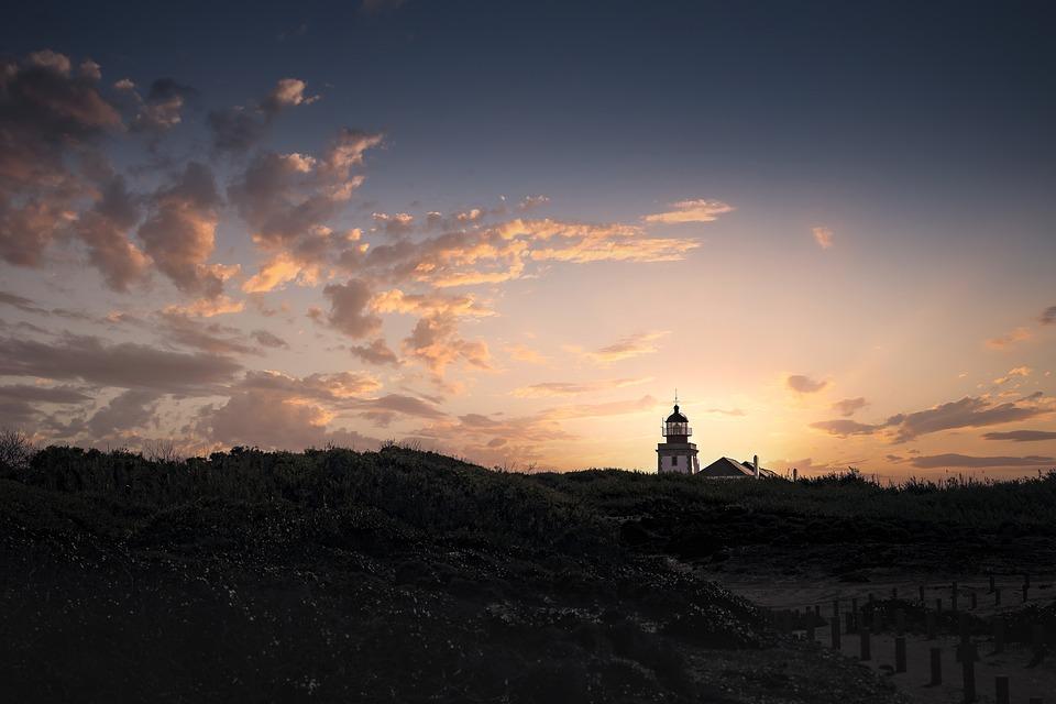 Lighthouse, Sunrise, Sky, Landscape, Nature, Clouds