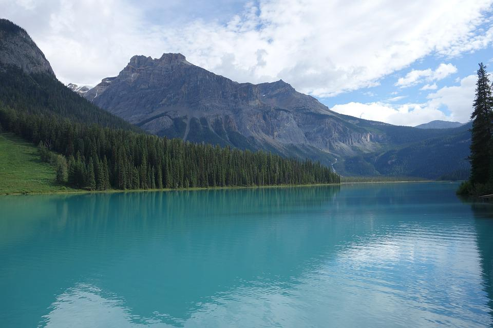 Canada, Lake, Landscape, Nature, Mountains, Bank, Water