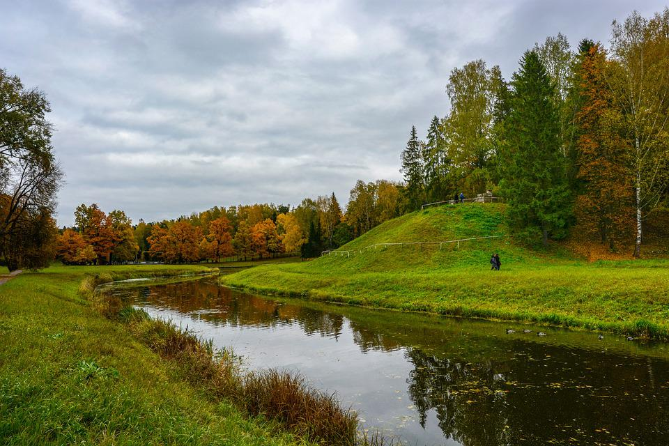 Landscape, Park, River, Autumn, Fall, Nature, Pavlovsk
