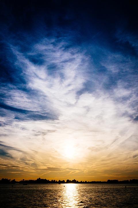 Sunset, Lake, Sky, Water, Nature, Landscape, Sun
