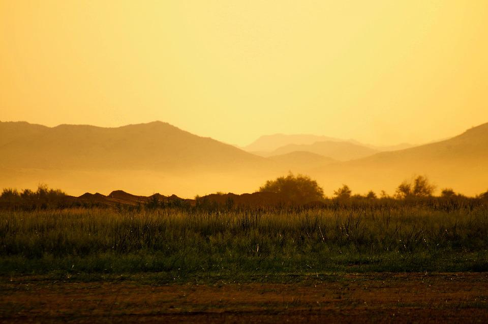 Jeddah, Dawn, Yellow, Sky, Nature, Landscape, Mountains