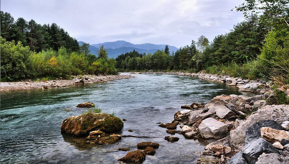 River, Stone, Water, Mountains, Nature, Landscape