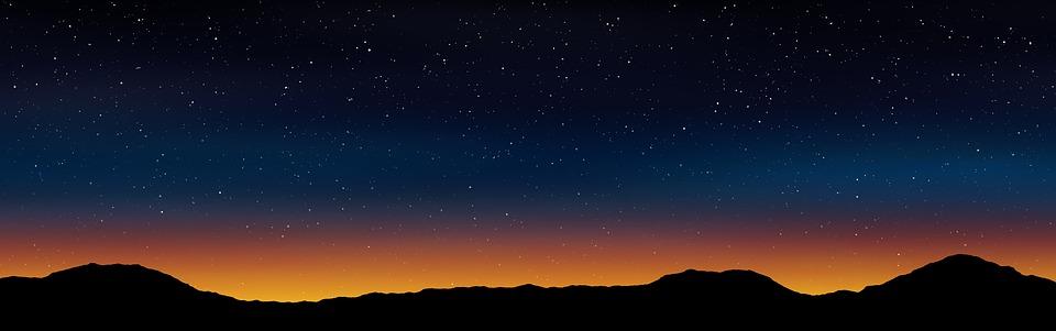 Banner, Header, Sky, Night, Stars, Landscape