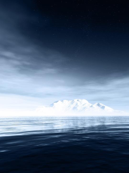 Landscape, Sea, Night Sky, Winter, Fog, Iceberg