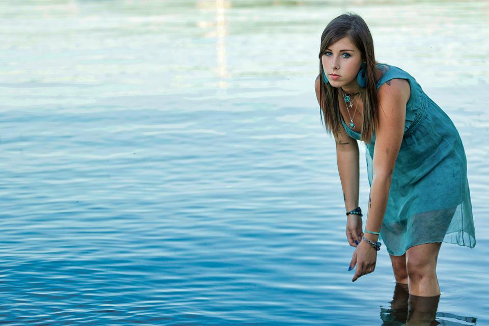Woman, Lake, Water, On The Lake, Landscape