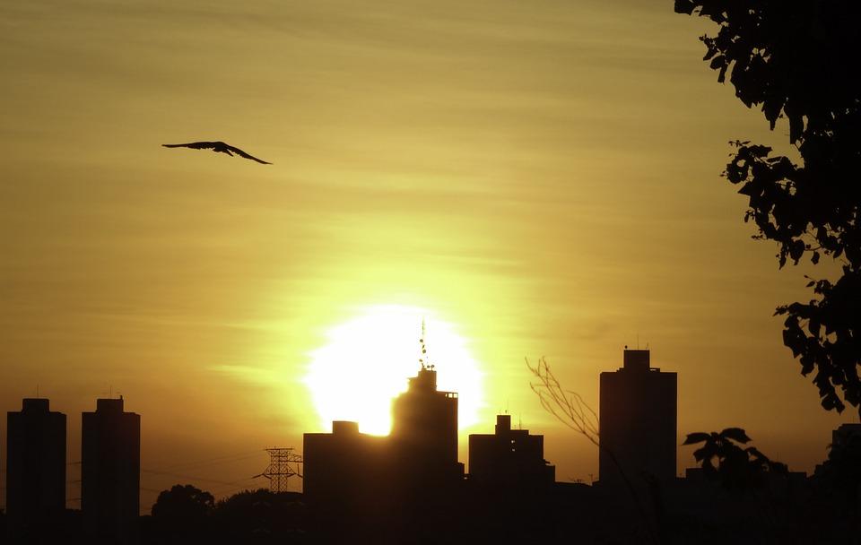 Landscape, Sunset, City, Sky, Orange Sky, Sun, Clouds