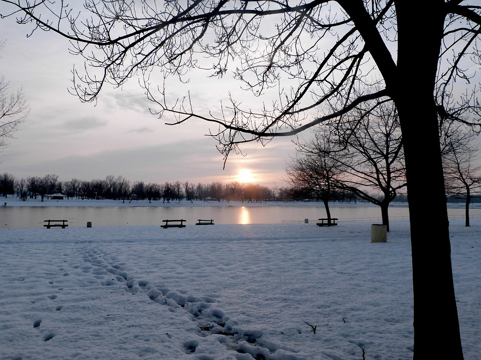 Winter, Lake, Sunset, Landscape, Cold, Season, Outdoors