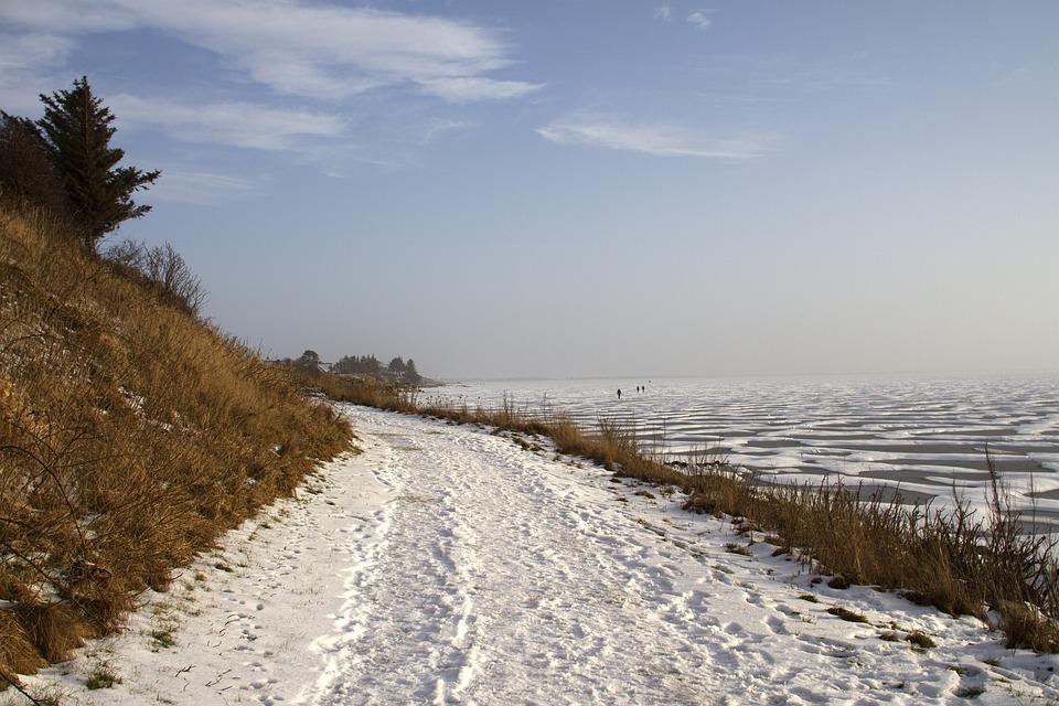 Winter, Path, Snow Cover, Ice, Fjord, Lake, Landscape