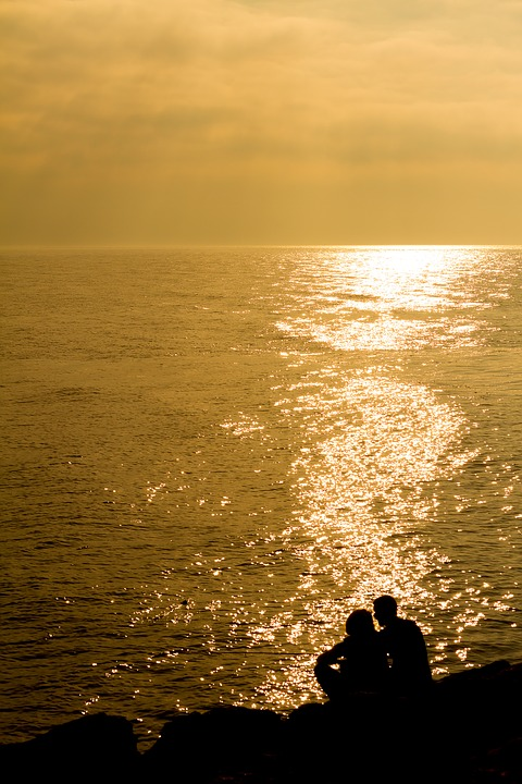 Landscape, Sunset, Sea, People, Silhouette, Romantic