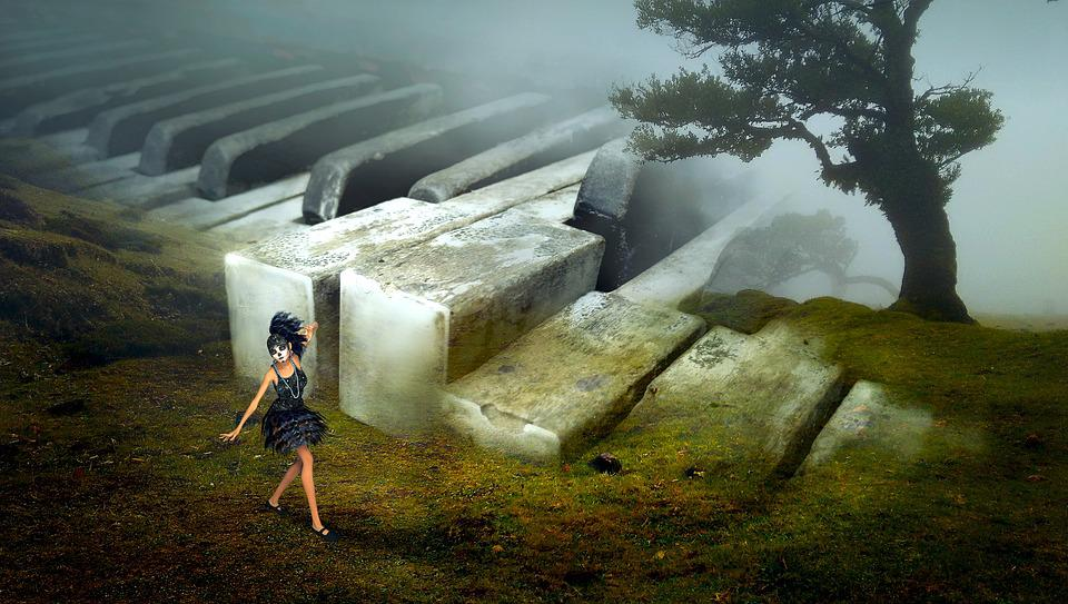 Fantasy, Landscape, Piano, Old, Tree, Girl, Meadow