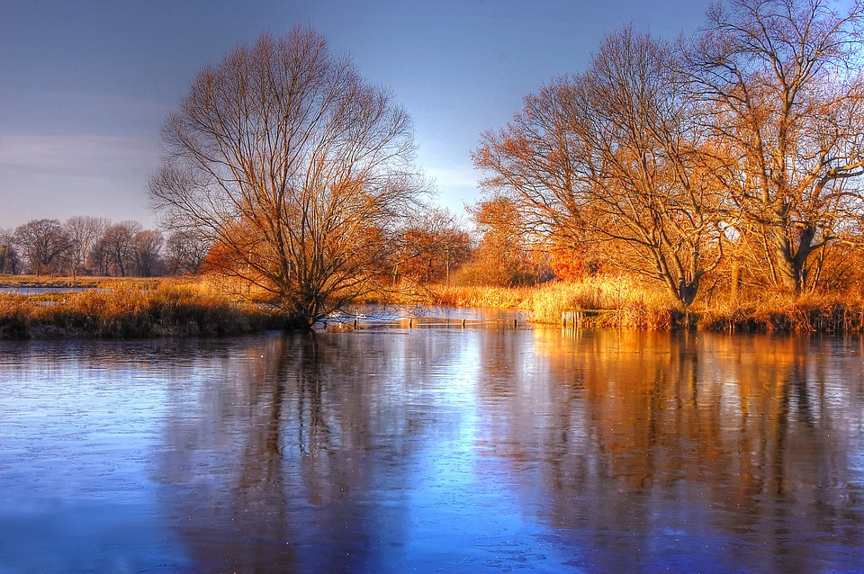 Sun, Pond, Water, Nature, Lake, Sky, Landscape, Autumn