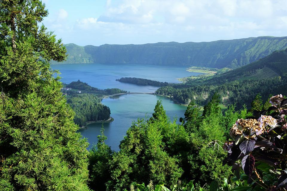 Azores, Portugal, Nature, Lake, Green, Sky, Landscape