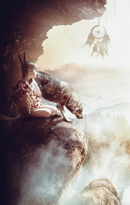 Child, Indians, Wolf, Landscape, Cave, Nature, Reserve