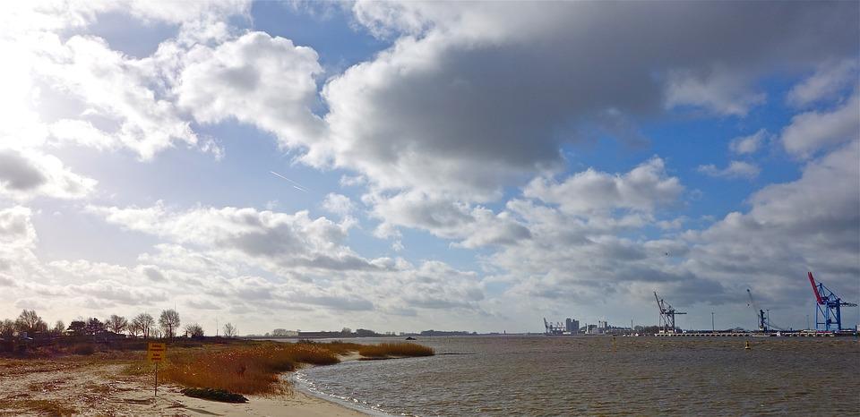 River, Clouds, Landscape, Northern Germany, Cranes