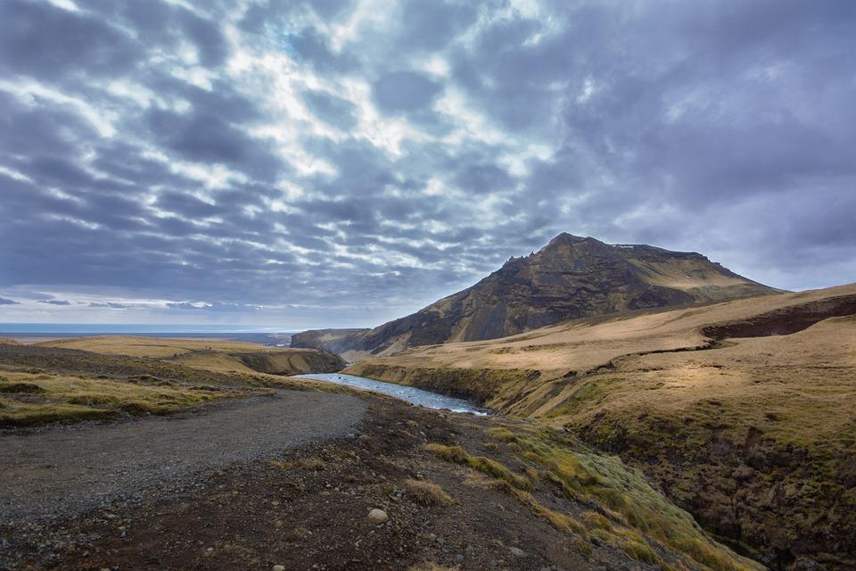 River, Iceland, Landscape, Landscape Water, Green, Sky