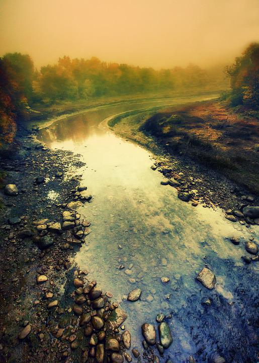River, Mist, Landscape, Fog, Reflections, Horizon