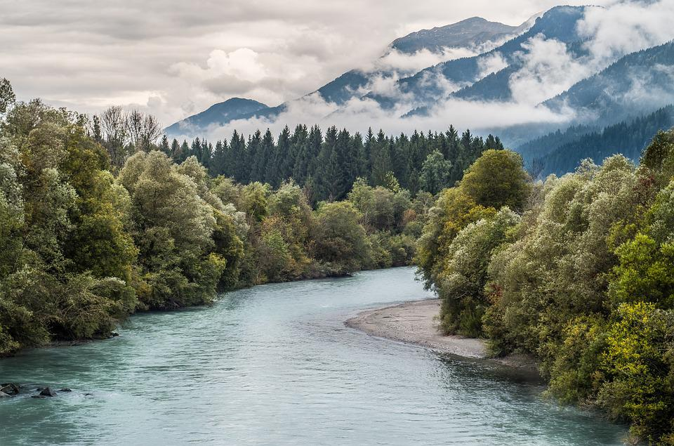 River, Mountains, The Alps, Landscape, Water, Nature