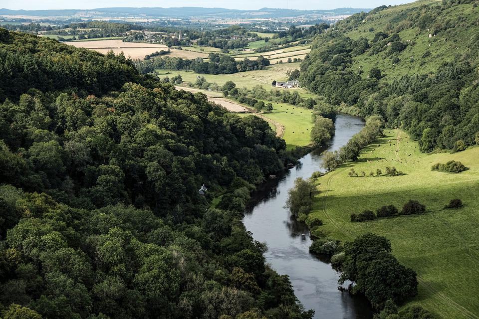 Landscape, River, Wye, Valley, England, Green, Nature