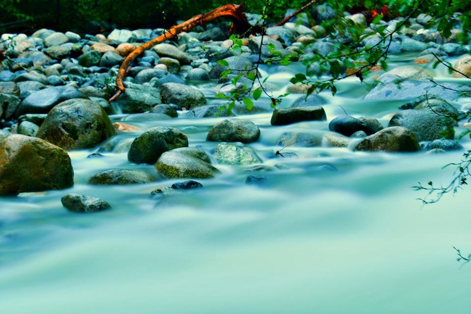 River Rocks, Riverbank, Downstream, Nature, Landscape