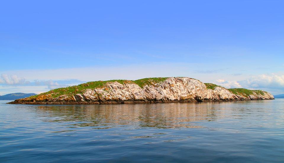 Island, Rock, Surf, Sky, Landscape, Nature, Summer