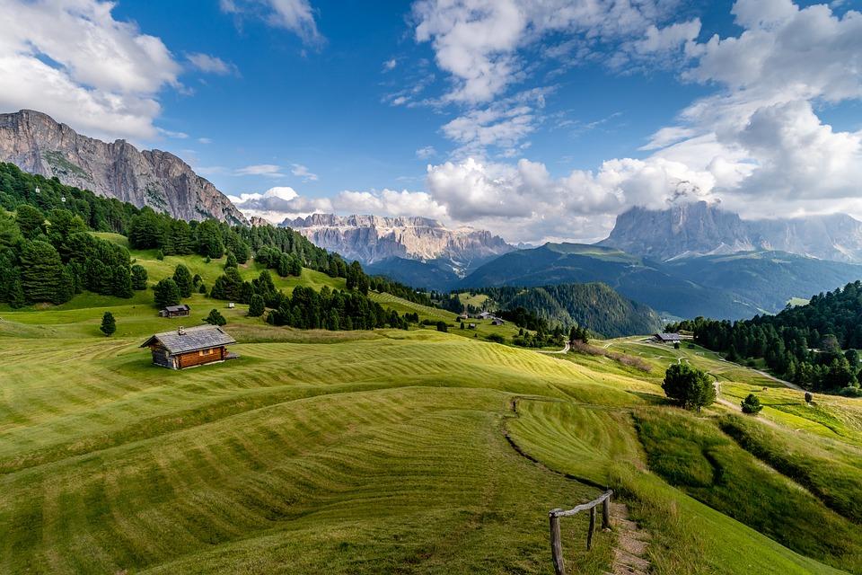 Field, Mountains, Rural, Village, Meadow, Landscape
