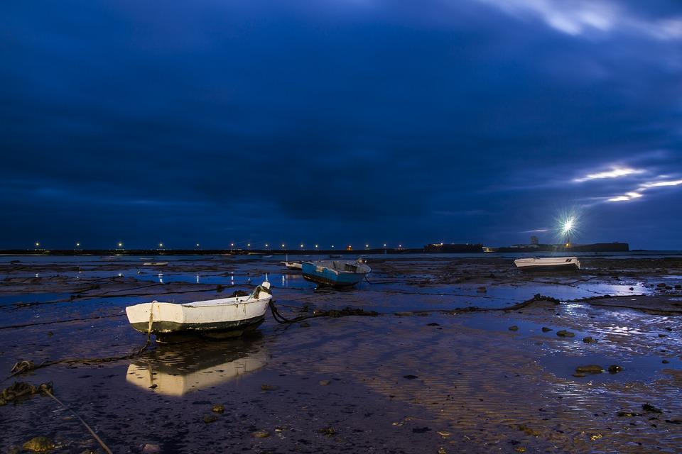 Night Beach Cadiz Landscape Sea Barca Nature