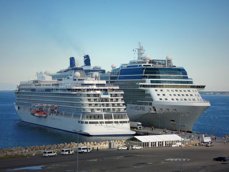 Ship, Shipping, Two, Sea, Blue, Port, City, Landscape