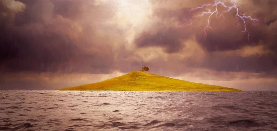 Painting, Image, Landscape, Sea, Island, Tree