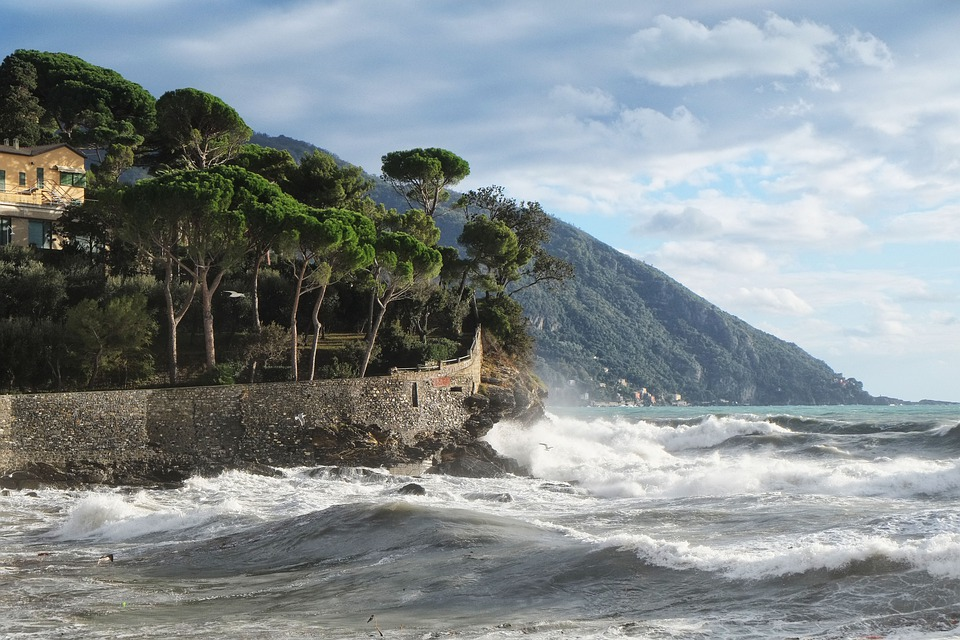 Sea, Waves, Nature, Camogli, Genoa, City, Landscape