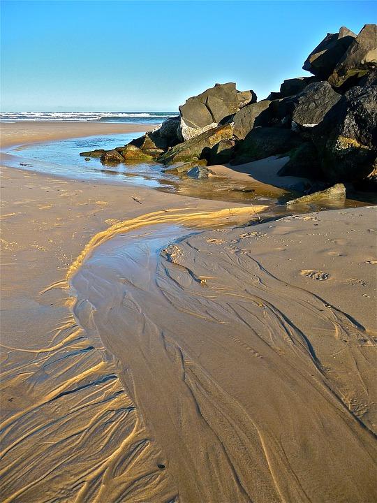 Seaside, Sand, Rocks, River, Coastline, Landscape