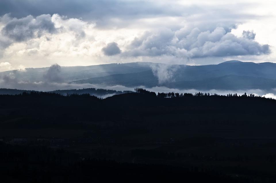 Mountains, Landscape, Twilight, Silhouette, Nature, Fog