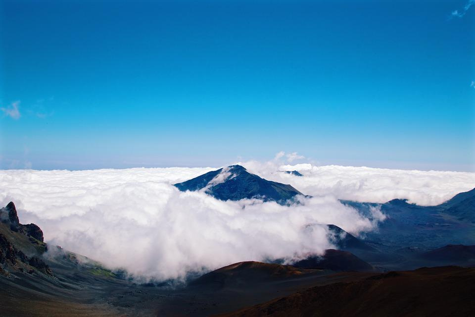 Above The Clouds, Sky, Mountains, Peak, Landscape, Blue
