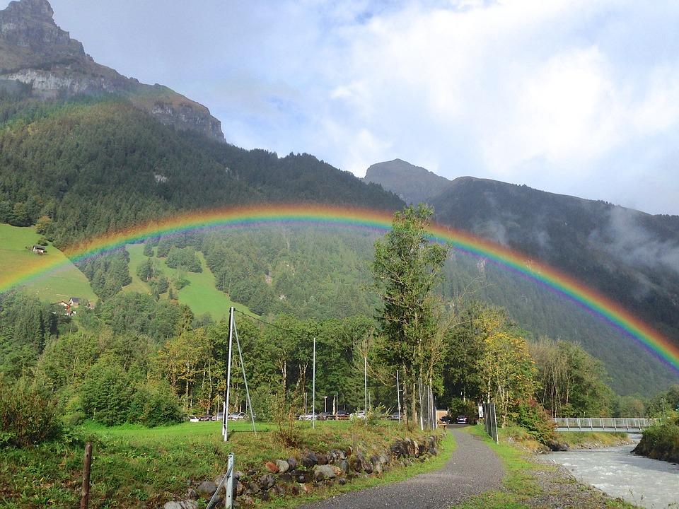 Rainbow, Rain, Landscape, Nature, Sky, Weather, Mood
