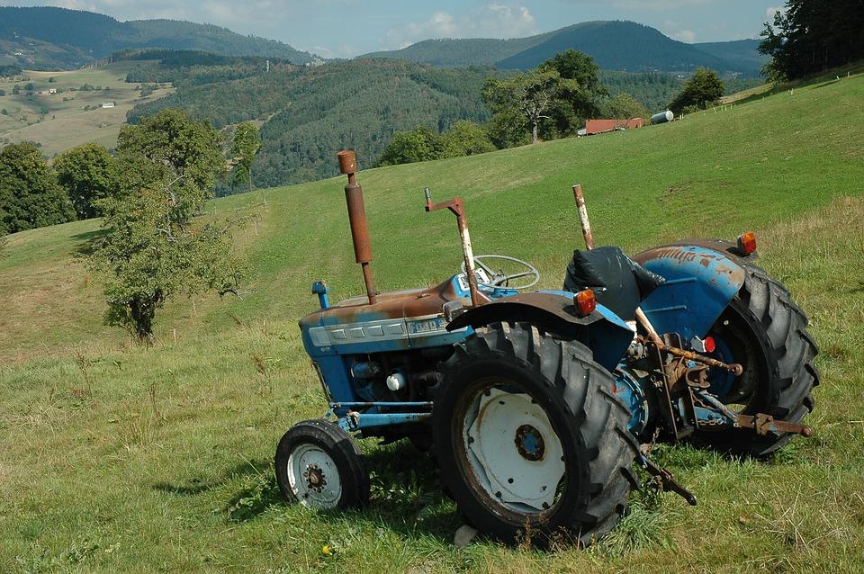Tractor, Alpine Pasture, Meadow, Slope, Landscape