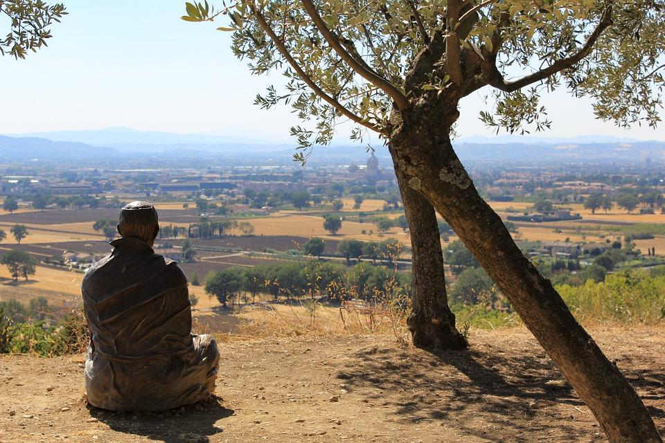 Umbria, Landscape, St Francis, Vista, Italy, Statue