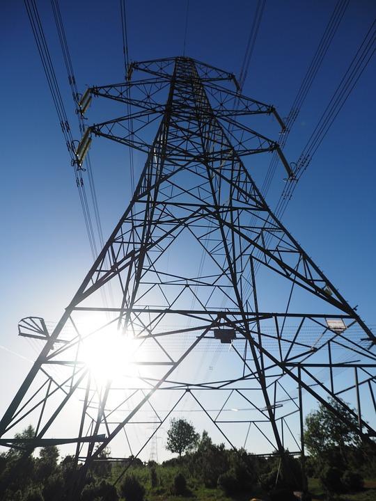 Pylon, Electricity, Silhoutte, Landscape, Wires, Steel
