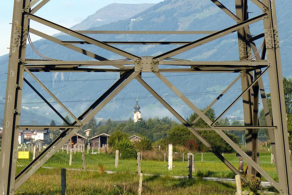 Strommast, Scaffold, Steel, Landscape