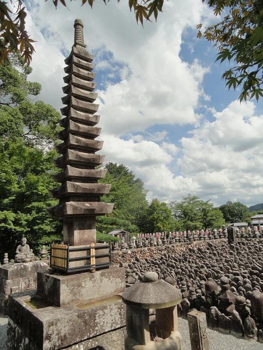 Sagano, Japan, Landscape, Markers, Stones, Temple