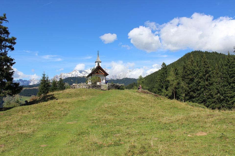 Chapel, Hill, Landscape, Nature, Summer, Green