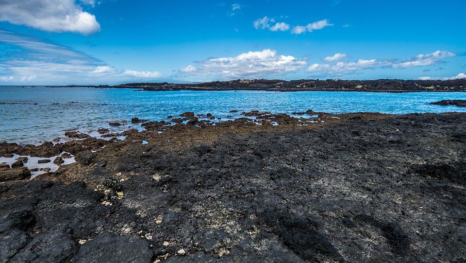 Ocean, Sea, Lava, Volcano, Horizon, Summer, Landscape