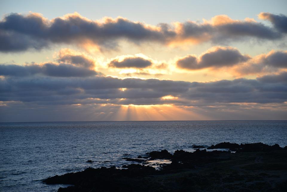 Sunset, Clouds, Sunbeams, See, Horizon, Sun, Landscape