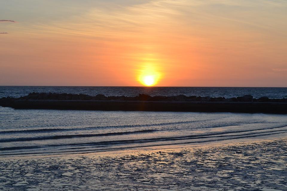 Sun, Sunset, Evening, Nature, Landscape, Sea