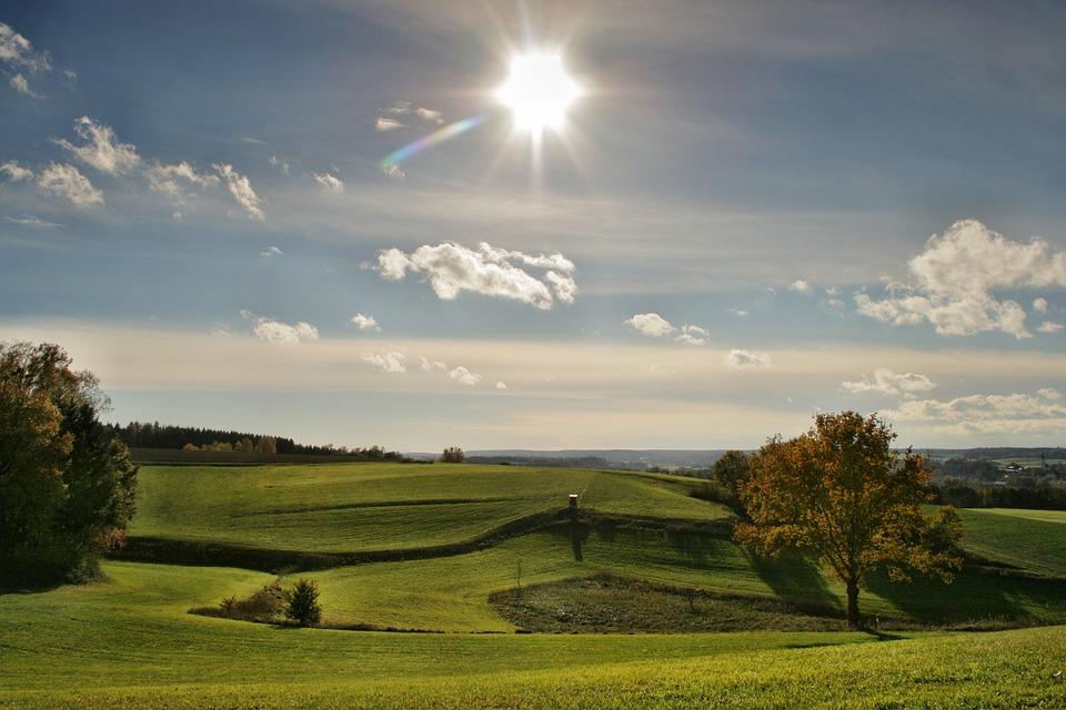 Landscape, Sun, Autumn, Sky