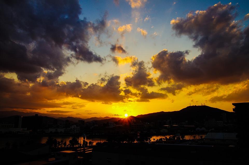 Sunset, Sun, Landscape, Sky