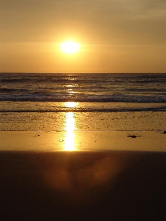 Sunset, Sun, Beach, Landscape